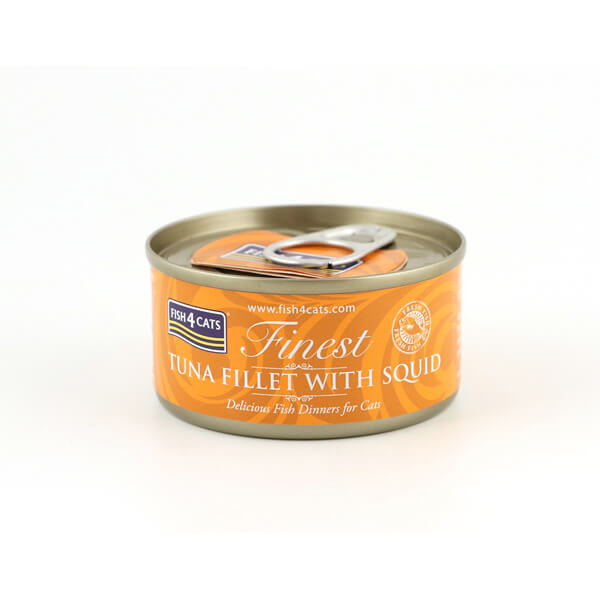 Fish4Cats Κονσέρβα Γάτας Finest Φιλέτο Τόνου με Καλαμάρι 70gr