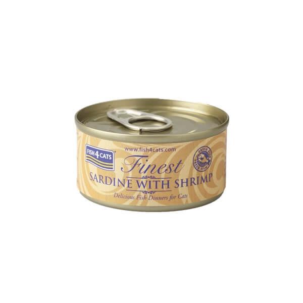 Fish4Cats Κονσέρβα Γάτας Finest Σαρδέλα με Γαρίδα 70gr