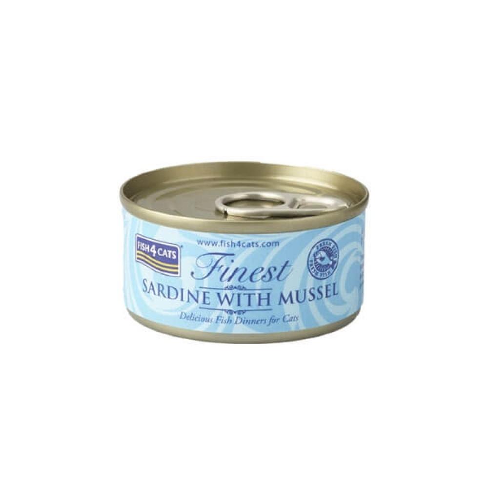 Fish4Cats Κονσέρβα Γάτας Finest Σαρδέλα με Μύδια 70gr