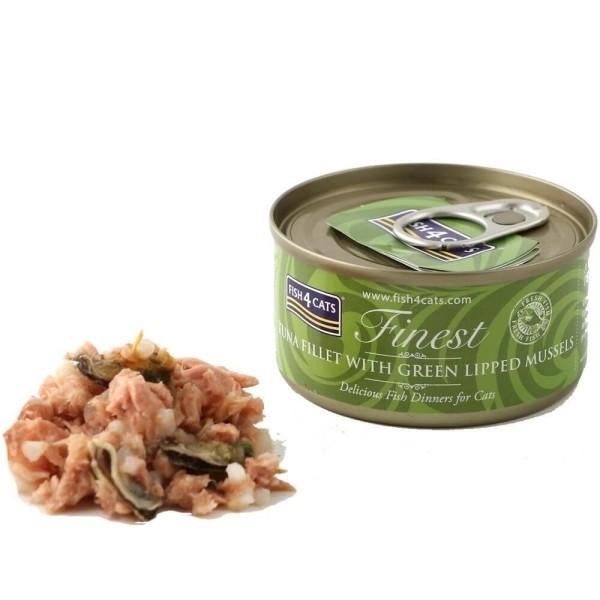 Fish4Cats Κονσέρβα Γάτας Finest Φιλέτο Τόνου με Πράσινα Μύδια 70gr
