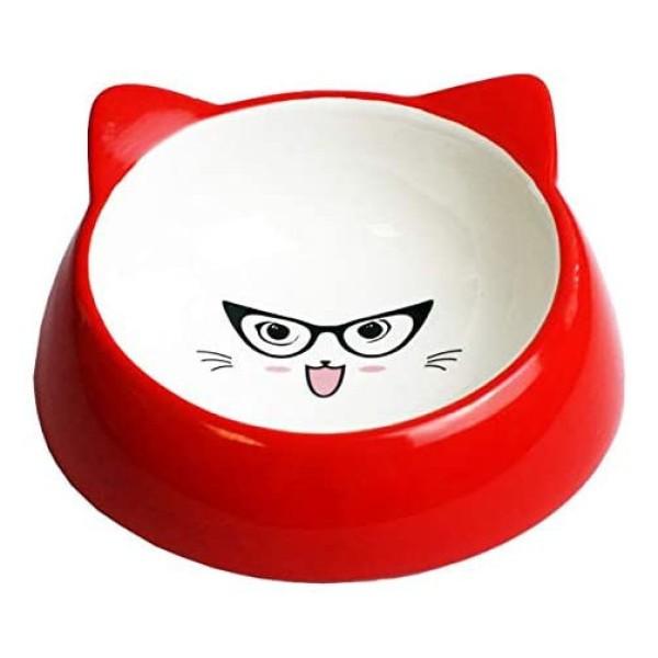 Κεραμικό Μπολ Φαγητού-Νερού για Γάτα Specs Red