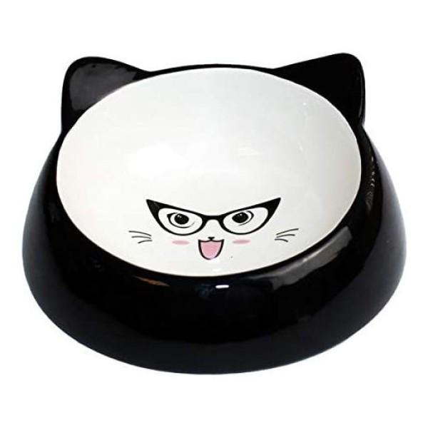 Κεραμικό Μπολ Φαγητού-Νερού για Γάτα Specs Black