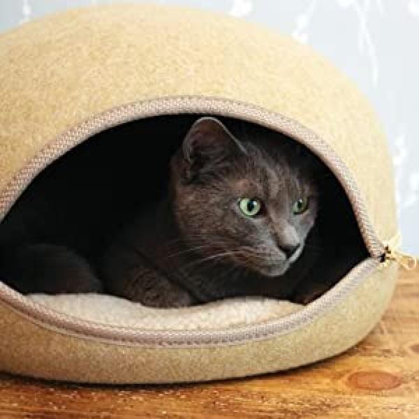 Κρεβάτι - Φωλιά Γάτας με Φερμουάρ Μπεζ
