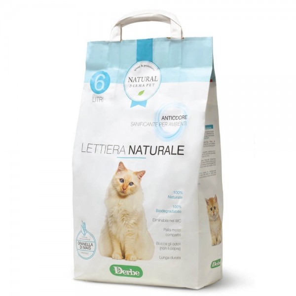 Natural Derma Pet Βιοδιασπώμενη Άμμος Υγιεινής για Γάτες από Καλαμπόκι κατά των Οσμών 2,85kg