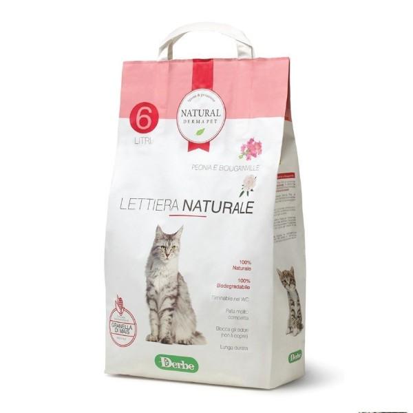 Natural Derma Pet Βιοδιασπώμενη Άμμος Υγιεινής για Γάτες από Καλαμπόκι με Άρωμα Πεόνια και Βουκαμβίλια 2,85kg