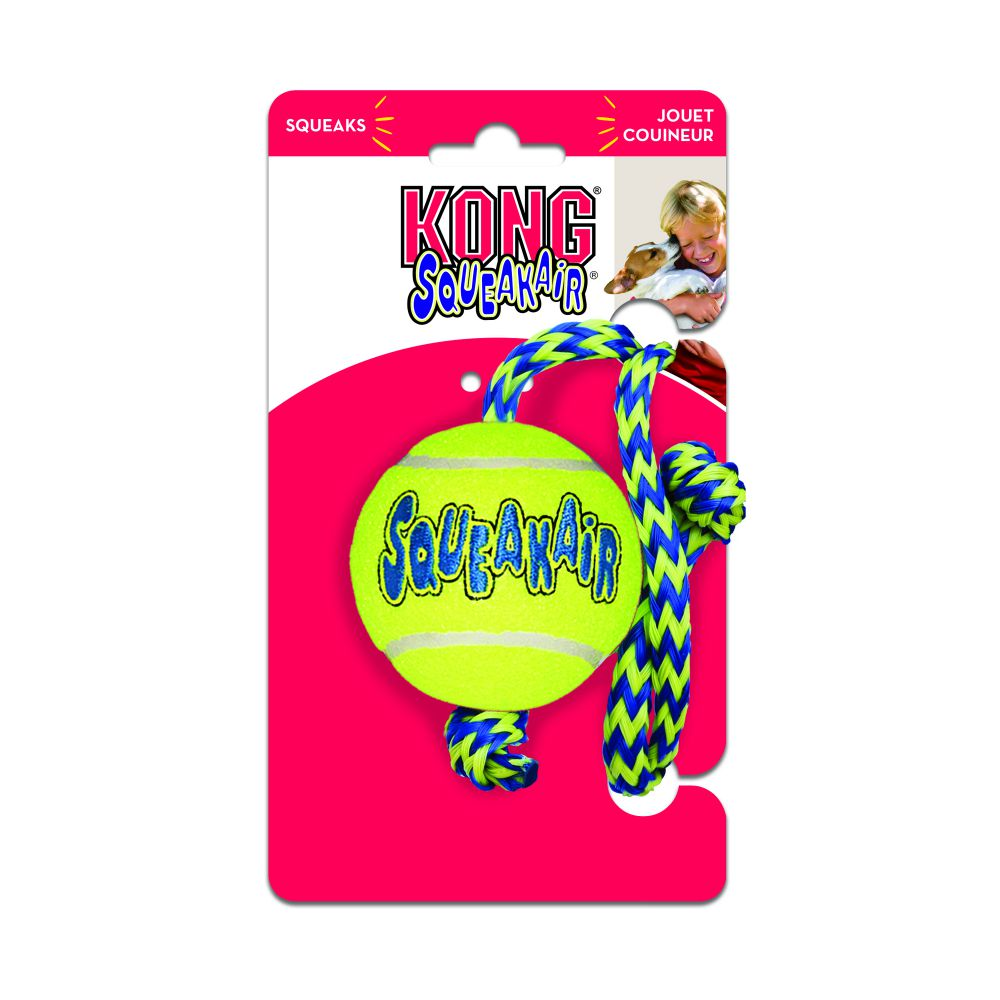 Παιχνίδι Σκύλου Kong Air Squeaker Tenis Ball with Rope
