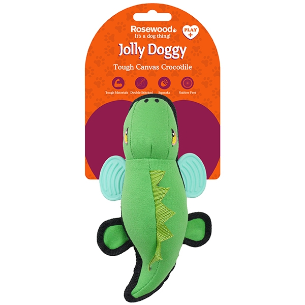Παιχνίδι Σκύλου Jolly Doggy Tough Canvas Crocodile with Rubber Feet