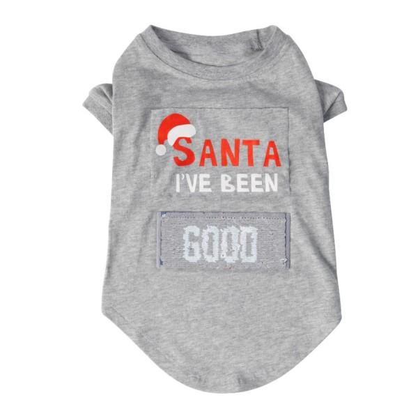 """Χριστουγεννιάτικo T-shirt Σκύλου με Παγιέτες """"Santa I've Been Good/Bad"""