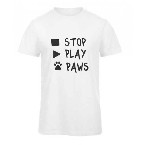 Ανδρικό Οργανικό T-shirt με τύπωμα Stop Play Paws