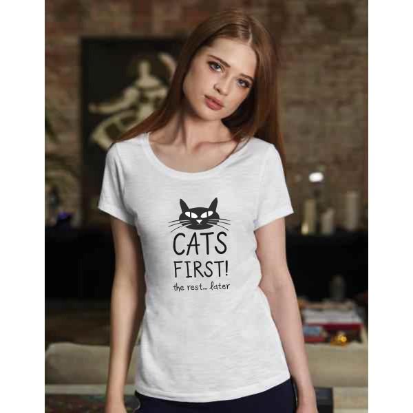Γυναικείο Οργανικό T-shirt με χαμόγελο Cats First